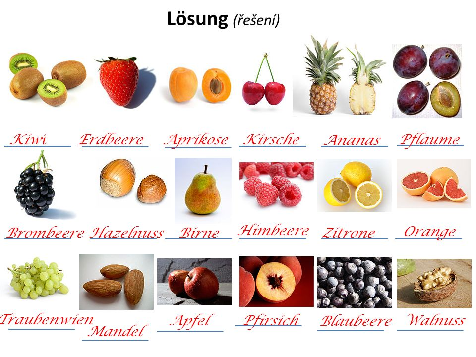 Lösung (řešení) Kiwi Erdbeere Aprikose Kirsche Ananas Pflaume BrombeereHazelnuss Traubenwien Zitrone Birne Mandel Apfel Pfirsich Orange Walnuss Blaubeere Himbeere
