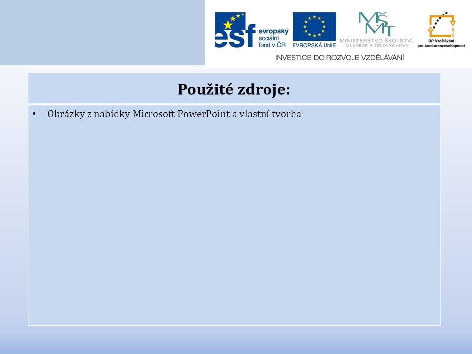 Použité zdroje: Obrázky z nabídky Microsoft PowerPoint a vlastní tvorba