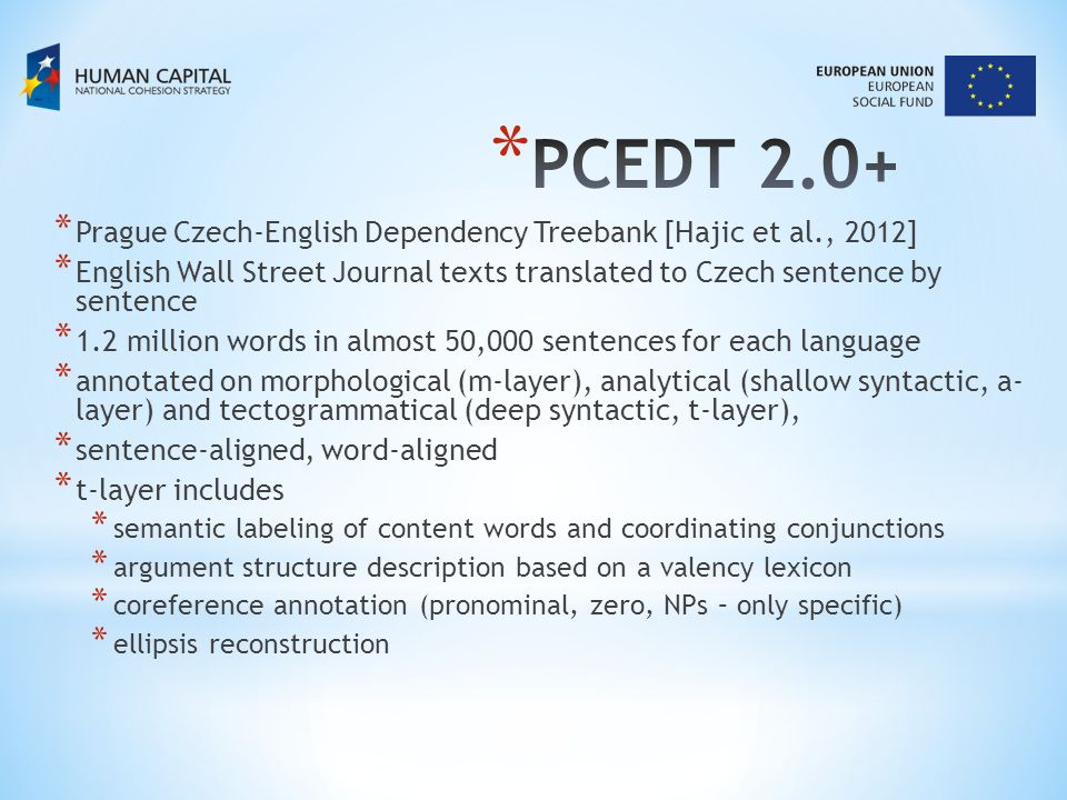 type of the taskdataF1F1 Grammatical coreference, verbs of controlPDT 2.091.5 Grammatical coreference, reflexive pronounsPDT 2.097.1 Grammatical coreference, relative pronounsPDT 2.099.6 Grammatical coreference, reciprocityPDT 2.094.7 Pronominal coreference, rule-basedPDT 2.074.2 Pronominal coreference, perceptron ranking, gold featuresPDT 2.079.4 Pronominal coreference, perceptron ranking, system featuresPDT 2.050.3 NP-coreference, specific NPsPDT 2.0 48.1 (P:59.7, R:40.3) (NP-coreference, generic NPs)PDT 2.0 1.8 (P:20, R:0.9) (bridging relations) new features!PDT 2.00 Identification of an anaphoric unexpressed subject, rule-basedPCEDT 2.061.5 Identification of an anaphoric unexpressed subject, rule-based, exploiting English side PCEDT 2.069.5
