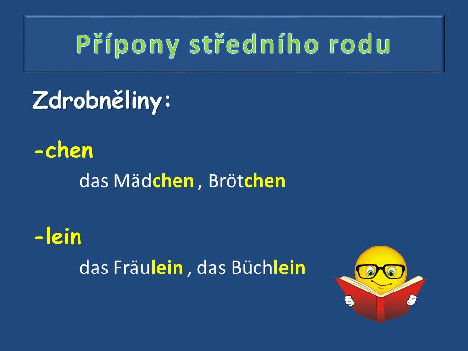 Zdrobněliny: -chen das Mädchen, Brötchen -lein das Fräulein, das Büchlein