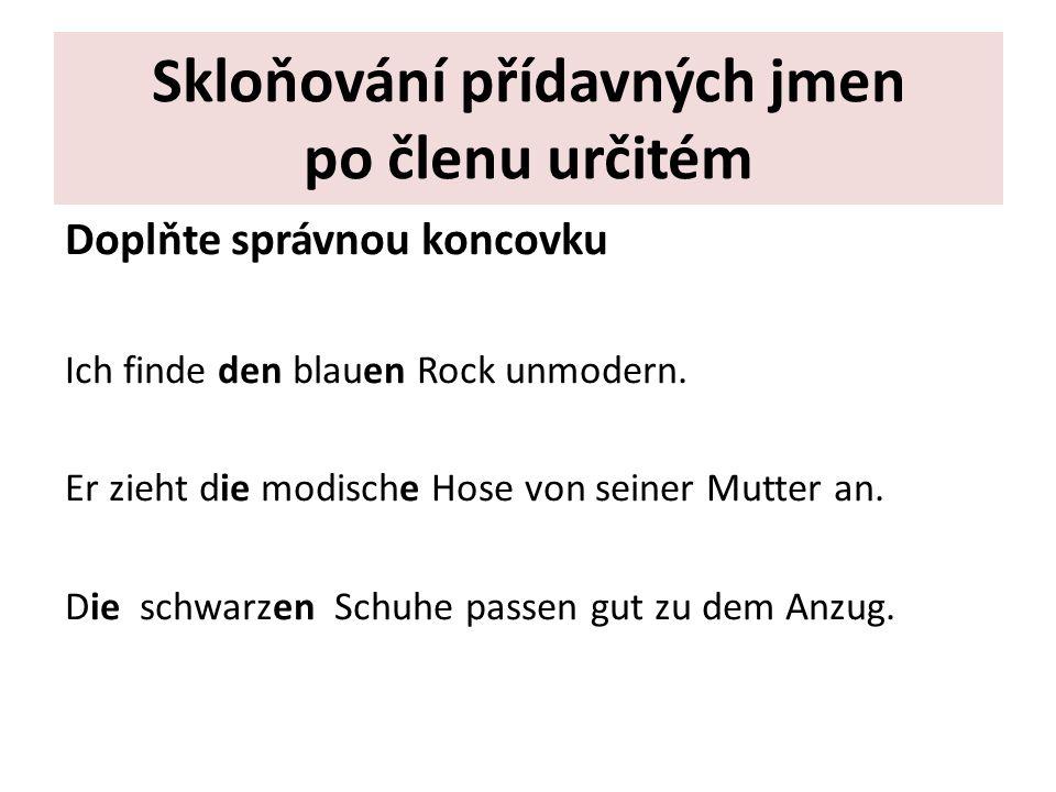 Skloňování přídavných jmen po členu určitém Doplňte správnou koncovku Ich finde den blauen Rock unmodern.