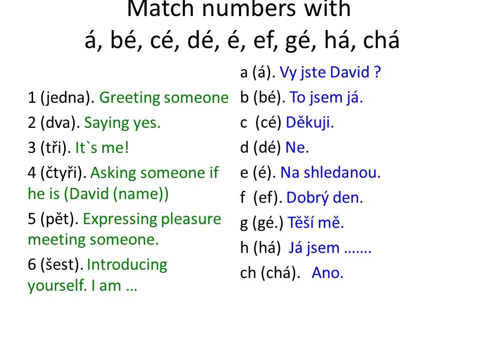 Match numbers with á, bé, cé, dé, é, ef, gé, há, chá 1 (jedna). Greeting someone 2 (dva). Saying yes. 3 (tři). It`s me! 4 (čtyři). Asking someone if h