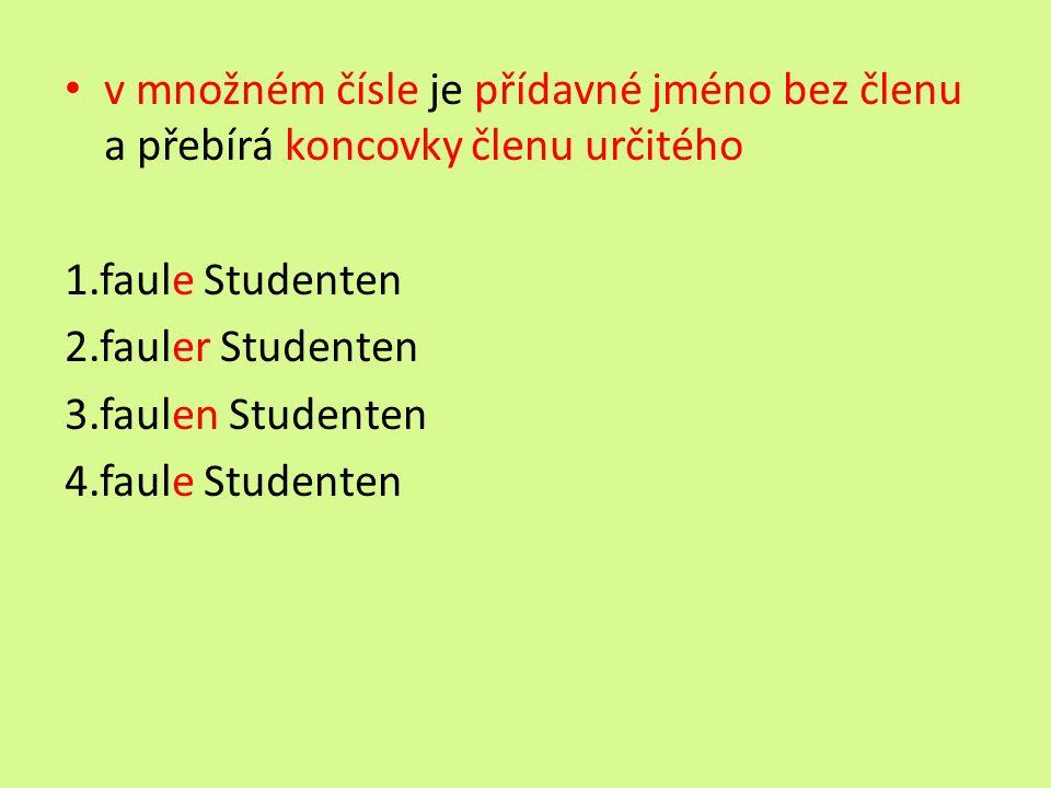 v množném čísle je přídavné jméno bez členu a přebírá koncovky členu určitého 1.faule Studenten 2.fauler Studenten 3.faulen Studenten 4.faule Studenten