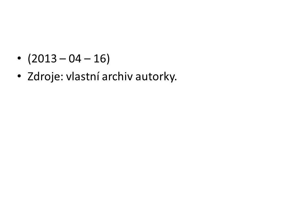 (2013 – 04 – 16) Zdroje: vlastní archiv autorky.