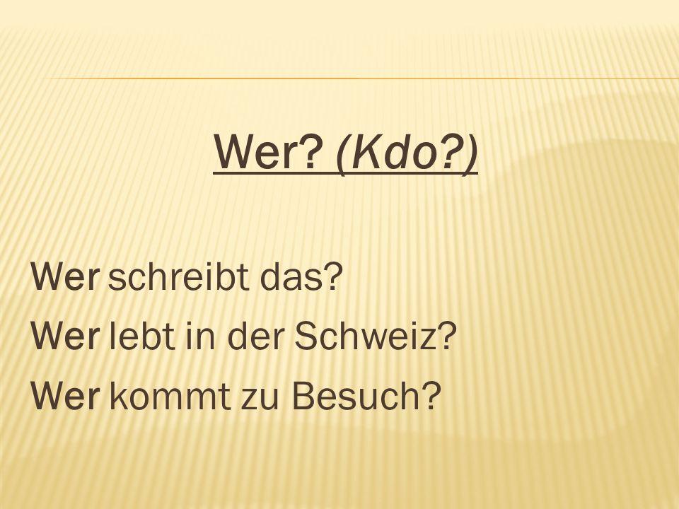 Wer? (Kdo?) Wer schreibt das? Wer lebt in der Schweiz? Wer kommt zu Besuch?