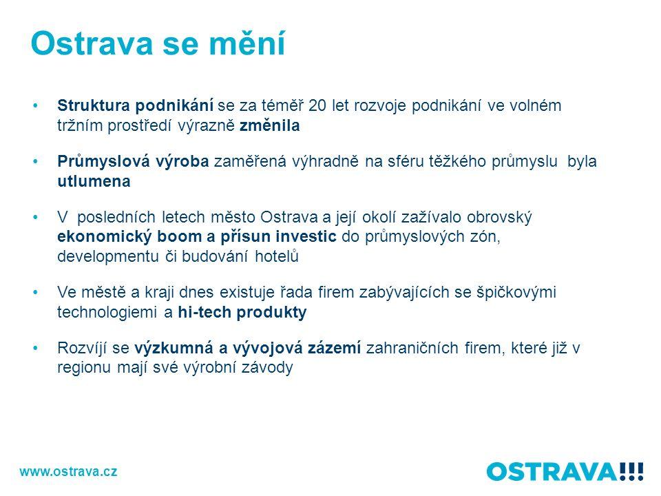 Vědecko-technologický park Ostrava Lokalita v těsné blízkosti VŠB-TUO Stávající plocha: 10 ha Umožňuje propojení obchodních aktivit s prostředím vědy a výzkumu a následné využití jejich výsledků v praxi Prostory k pronájmu (multifunkční budovy PIANO, TANDEM, VIVA, TRIDENT) Společnosti ve VTPO: INGETEAM, HELLA AUTOTECHNIK, ELCOM, ROPER ENG., CGI … 30 společností celkem Věda, výzkum, inovace