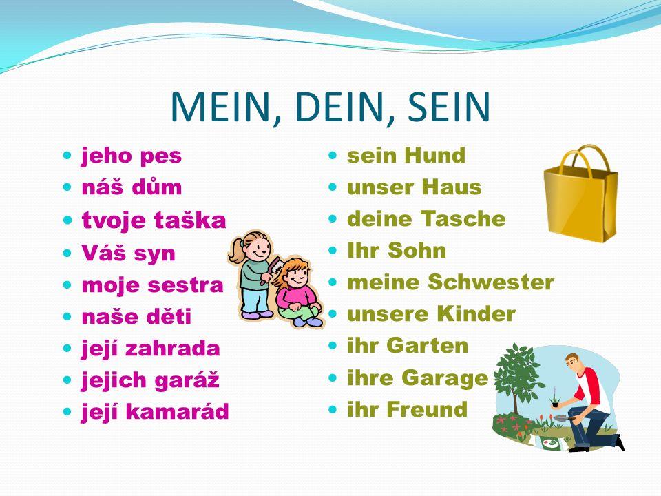 MEIN, DEIN, SEIN Vaše sestra moje teta naše děti jeho zahrada jejich dům její kamarádka Ihre Schwester meine Tante unsere Kinder sein Garten ihr Haus ihre Freundin Ilustrace.
