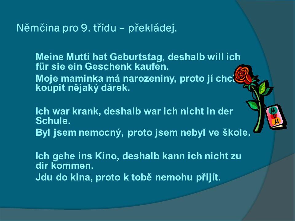 Němčina pro 9. třídu – překládej.