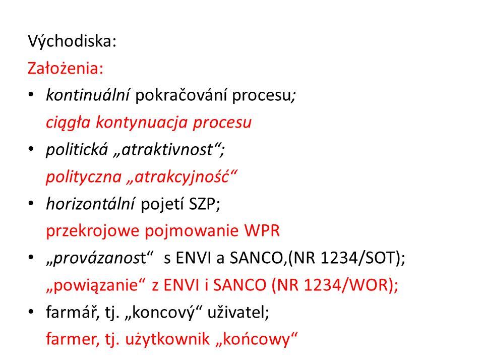 "Východiska: Założenia: kontinuální pokračování procesu; ciągła kontynuacja procesu politická ""atraktivnost ; polityczna ""atrakcyjność horizontální pojetí SZP; przekrojowe pojmowanie WPR ""provázanost s ENVI a SANCO,(NR 1234/SOT); ""powiązanie z ENVI i SANCO (NR 1234/WOR); farmář, tj."
