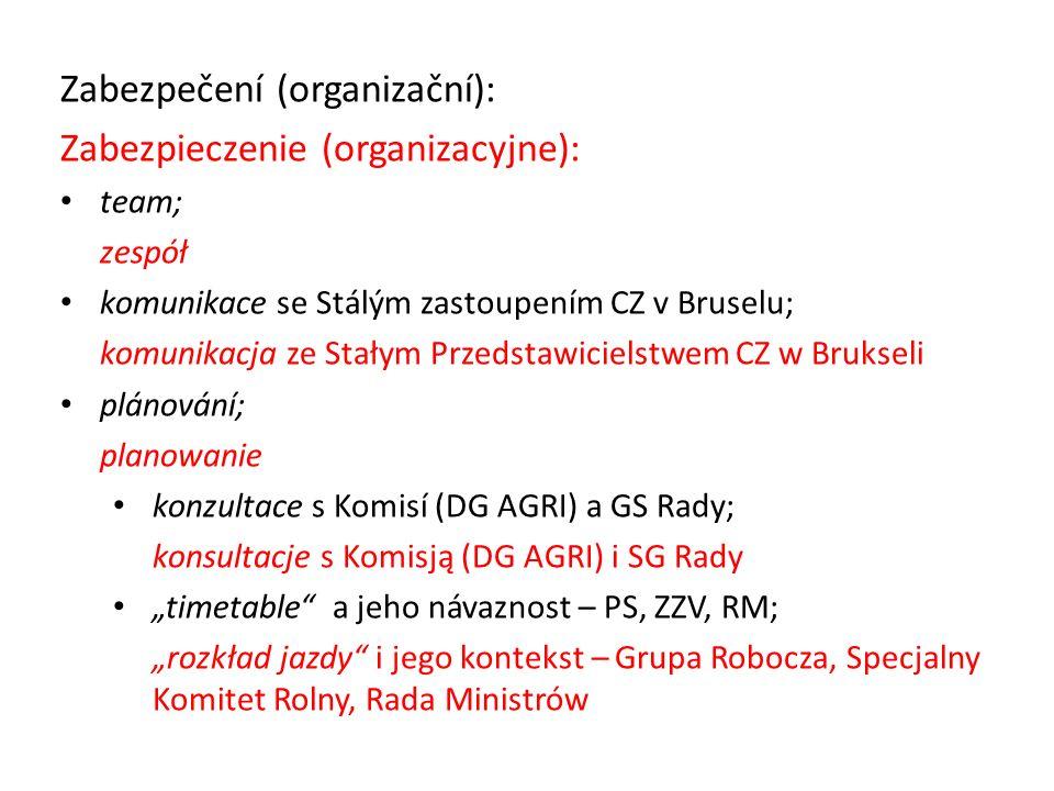 "Zabezpečení (organizační): Zabezpieczenie (organizacyjne): team; zespół komunikace se Stálým zastoupením CZ v Bruselu; komunikacja ze Stałym Przedstawicielstwem CZ w Brukseli plánování; planowanie konzultace s Komisí (DG AGRI) a GS Rady; konsultacje s Komisją (DG AGRI) i SG Rady ""timetable a jeho návaznost – PS, ZZV, RM; ""rozkład jazdy i jego kontekst – Grupa Robocza, Specjalny Komitet Rolny, Rada Ministrów"