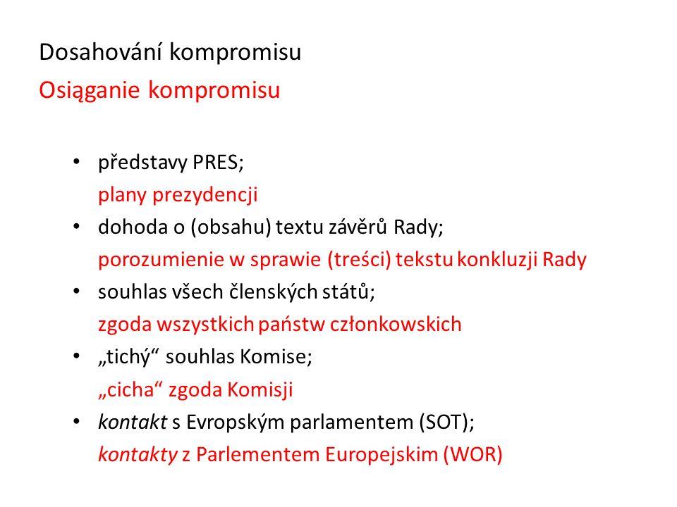 "Dosahování kompromisu Osiąganie kompromisu představy PRES; plany prezydencji dohoda o (obsahu) textu závěrů Rady; porozumienie w sprawie (treści) tekstu konkluzji Rady souhlas všech členských států; zgoda wszystkich państw członkowskich ""tichý souhlas Komise; ""cicha zgoda Komisji kontakt s Evropským parlamentem (SOT); kontakty z Parlementem Europejskim (WOR)"