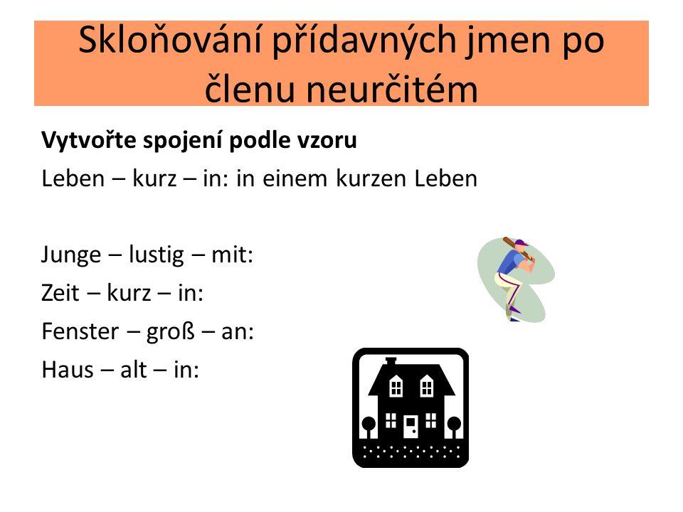 Skloňování přídavných jmen po členu neurčitém Vytvořte spojení podle vzoru Leben – kurz – in: in einem kurzen Leben Junge – lustig – mit: Zeit – kurz – in: Fenster – groß – an: Haus – alt – in: