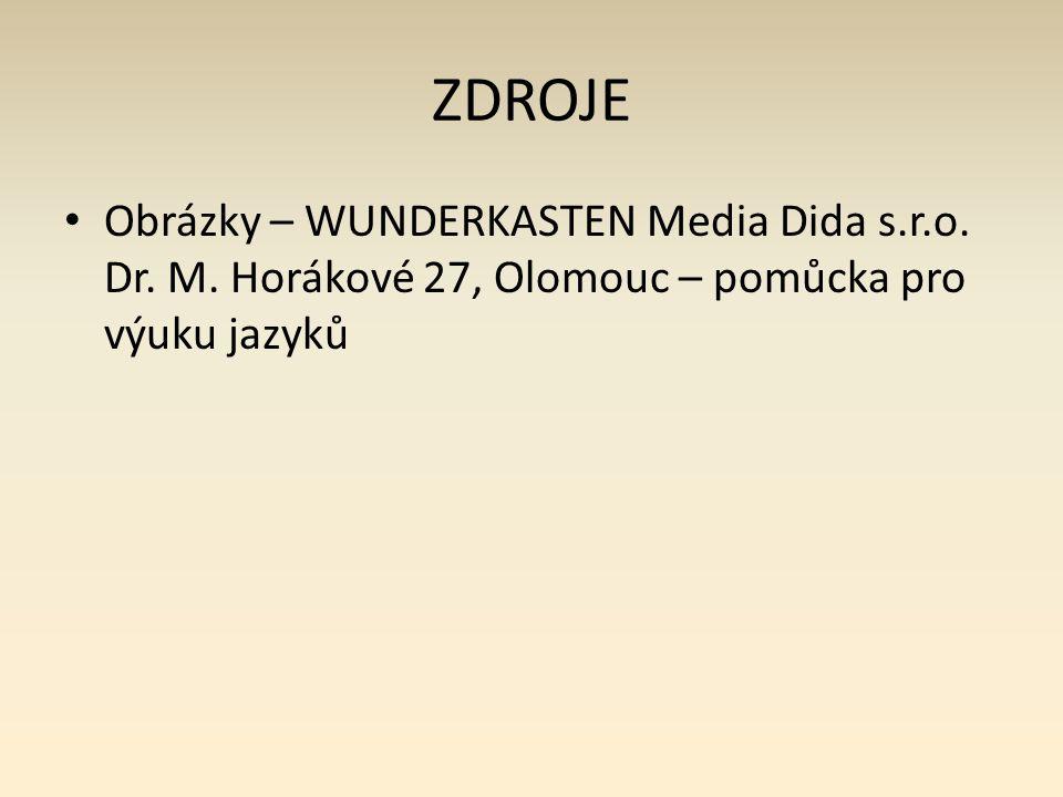 ZDROJE Obrázky – WUNDERKASTEN Media Dida s.r.o. Dr. M. Horákové 27, Olomouc – pomůcka pro výuku jazyků