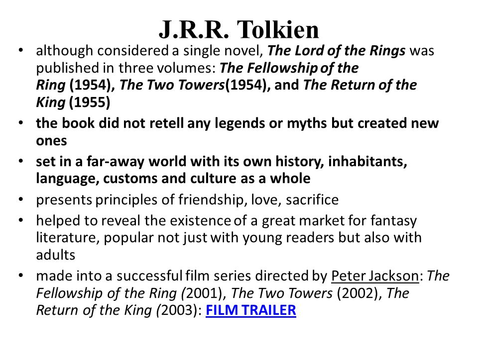 Other works by Tolkien A Middle English Vocabulary Songs for the Philologists (humorous verses in Old English) The Adventures of Tom Bombadil and Other Verses from the Red Book Unfinished Tales of Numenor and Middle-earth The History of Middle-earth series