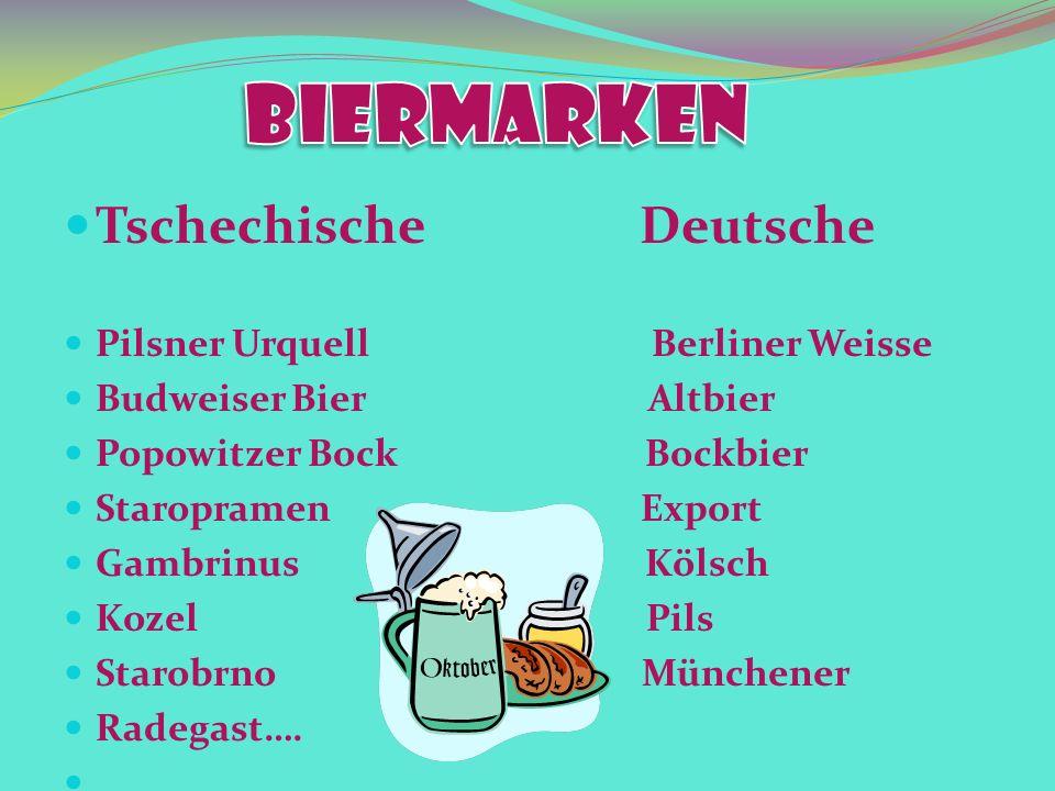 Tschechische Deutsche Pilsner Urquell Berliner Weisse Budweiser Bier Altbier Popowitzer Bock Bockbier Staropramen Export Gambrinus Kölsch Kozel Pils Starobrno Münchener Radegast….
