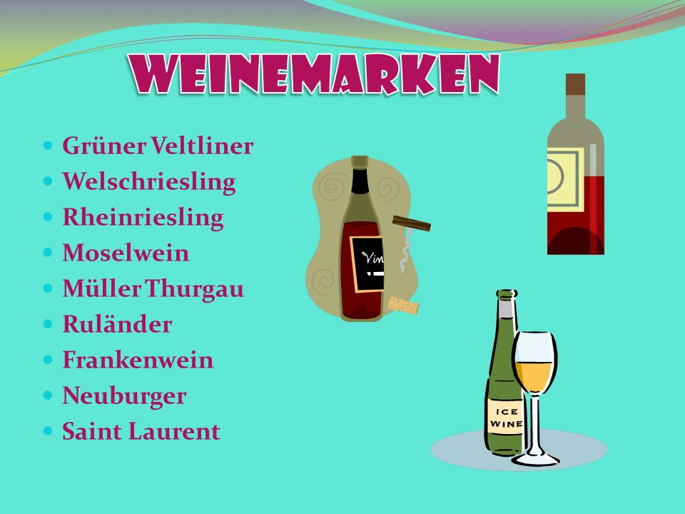 Grüner Veltliner Welschriesling Rheinriesling Moselwein Müller Thurgau Ruländer Frankenwein Neuburger Saint Laurent