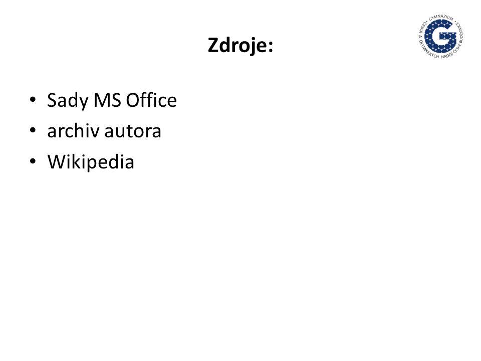 Zdroje: Sady MS Office archiv autora Wikipedia