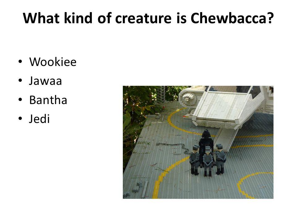 What kind of creature is Chewbacca? Wookiee Jawaa Bantha Jedi