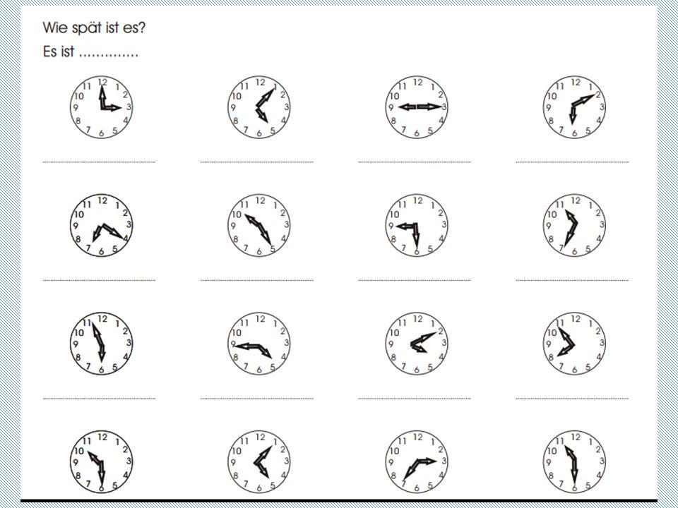 Zeitangaben: Viertel (čtvrt) : viertel acht (čtvrt na devět) : fünfzehn Minuten nach (po) acht Uhr : fünfundvierzig Minuten vor (před) neun Uhr :acht Uhr und fünfzehn Minuten Stejný způsobem se dají vyjádřit i ostatní časové údaje: