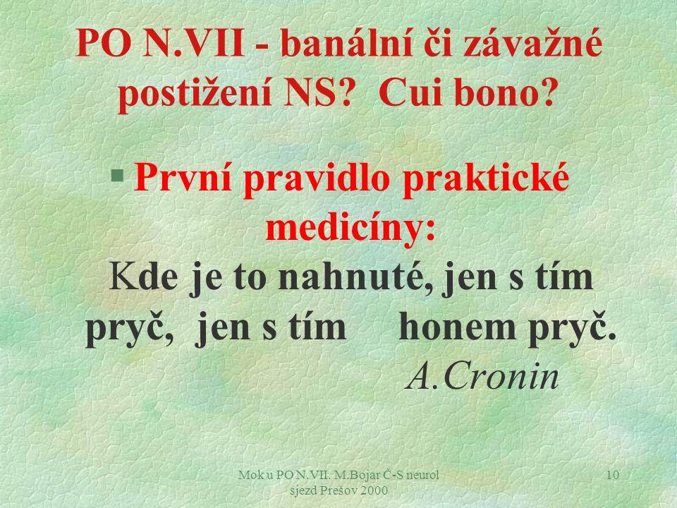 Mok u PO N.VII. M.Bojar Č-S neurol sjezd Prešov 2000 10 PO N.VII - banální či závažné postižení NS.