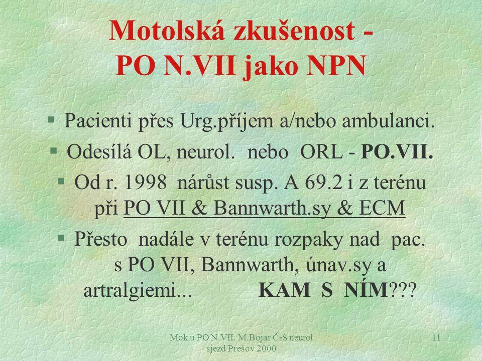 Mok u PO N.VII. M.Bojar Č-S neurol sjezd Prešov 2000 11 Motolská zkušenost - PO N.VII jako NPN §Pacienti přes Urg.příjem a/nebo ambulanci. §Odesílá OL