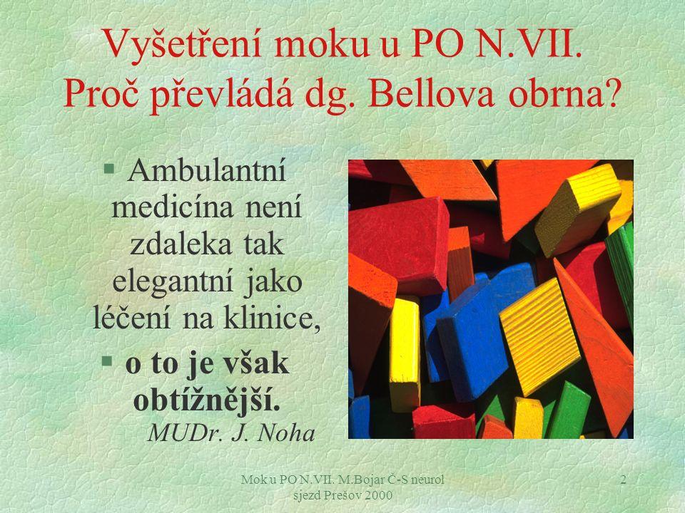 Mok u PO N.VII. M.Bojar Č-S neurol sjezd Prešov 2000 2 Vyšetření moku u PO N.VII.