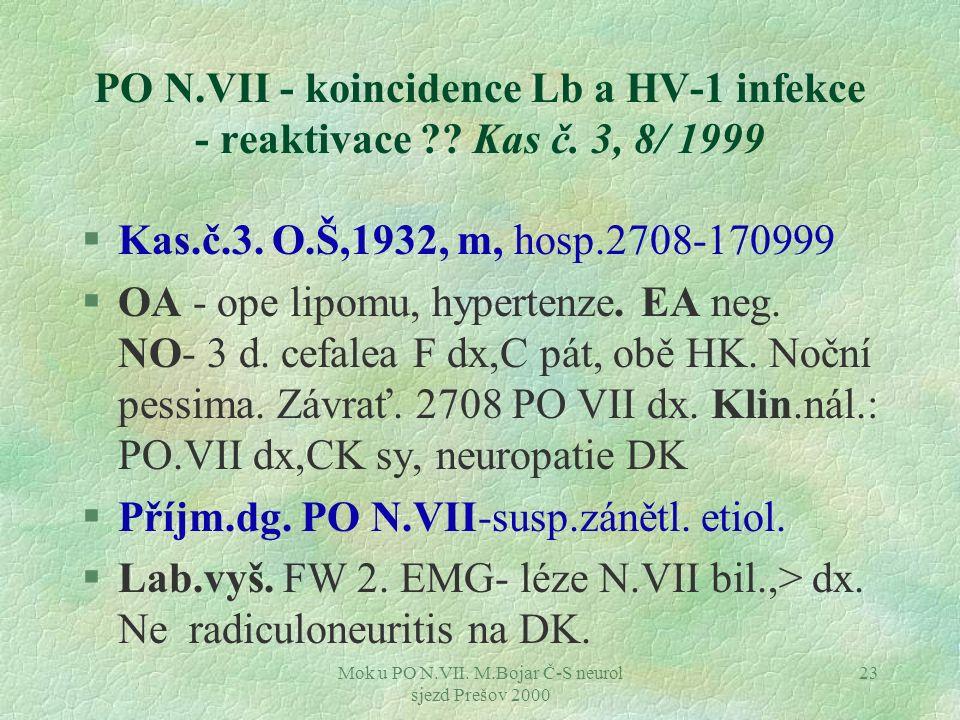 Mok u PO N.VII. M.Bojar Č-S neurol sjezd Prešov 2000 23 PO N.VII - koincidence Lb a HV-1 infekce - reaktivace ?? Kas č. 3, 8/ 1999 §Kas.č.3. O.Š,1932,