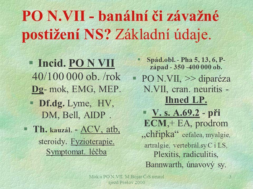 Mok u PO N.VII. M.Bojar Č-S neurol sjezd Prešov 2000 3 PO N.VII - banální či závažné postižení NS.