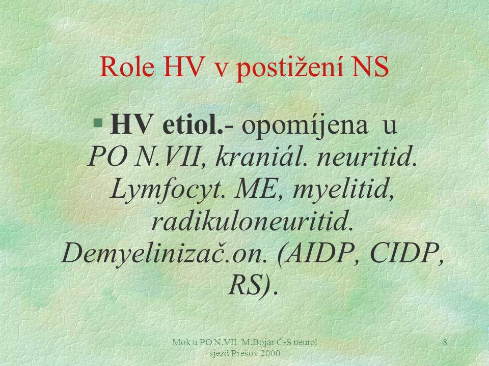 Mok u PO N.VII. M.Bojar Č-S neurol sjezd Prešov 2000 8 Role HV v postižení NS §HV etiol.- opomíjena u PO N.VII, kraniál. neuritid. Lymfocyt. ME, myeli