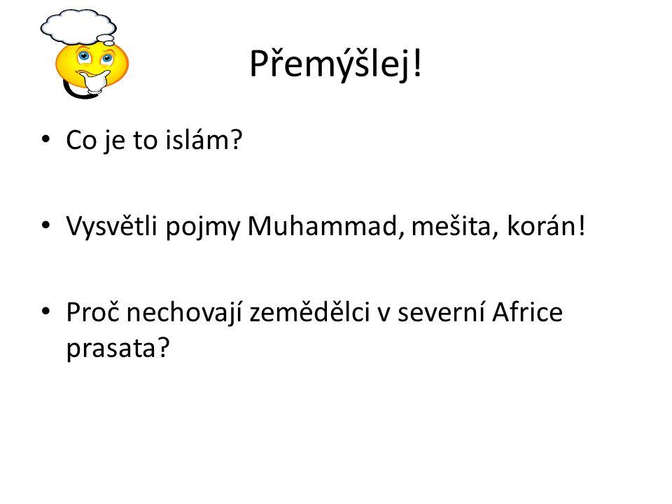 Přemýšlej! Co je to islám? Vysvětli pojmy Muhammad, mešita, korán! Proč nechovají zemědělci v severní Africe prasata?