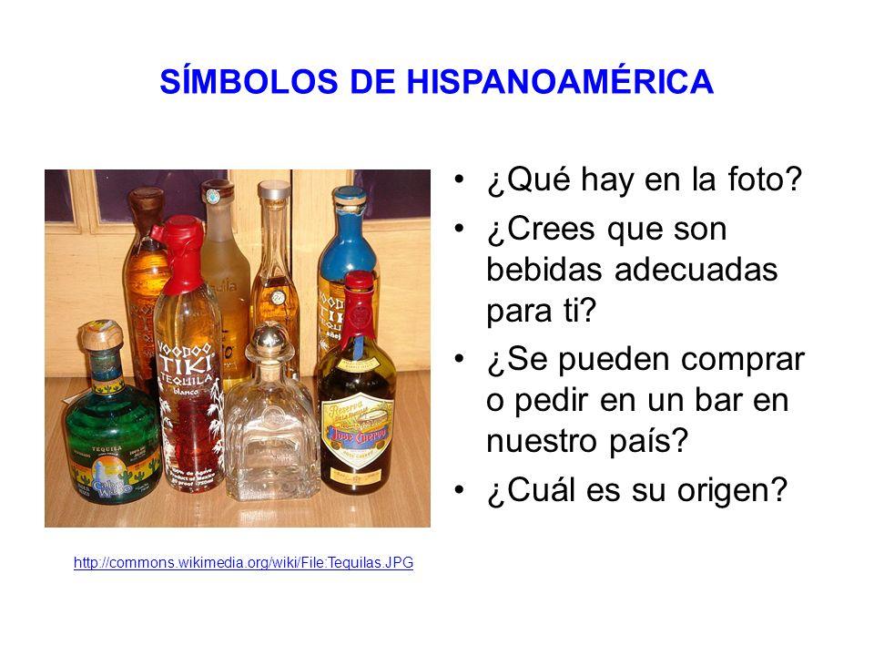 SÍMBOLOS DE HISPANOAMÉRICA ¿Qué hay en la foto. ¿Crees que son bebidas adecuadas para ti.