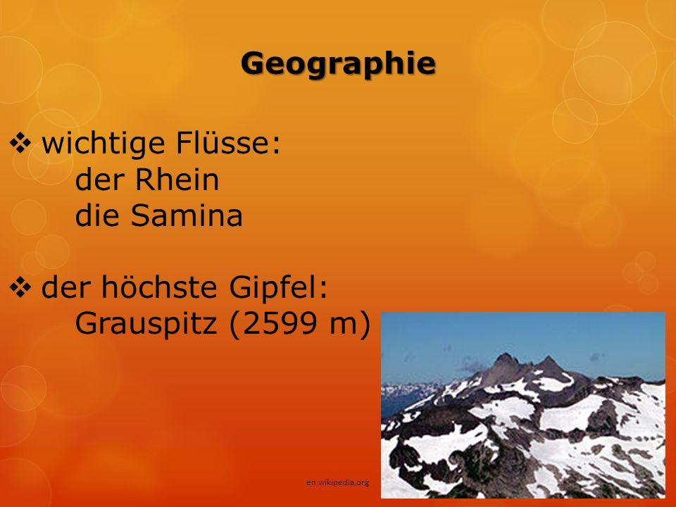 Geographie  wichtige Flüsse: der Rhein die Samina  der höchste Gipfel: Grauspitz (2599 m) en.wikipedia.org