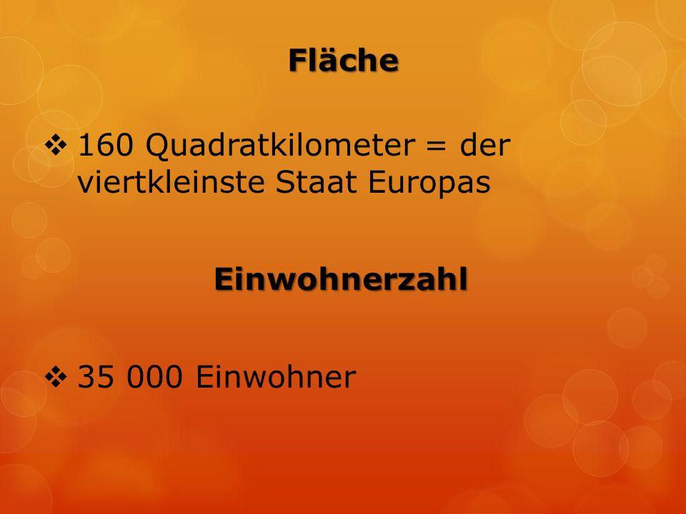 Fläche  160 Quadratkilometer = der viertkleinste Staat Europas Einwohnerzahl  35 000 Einwohner