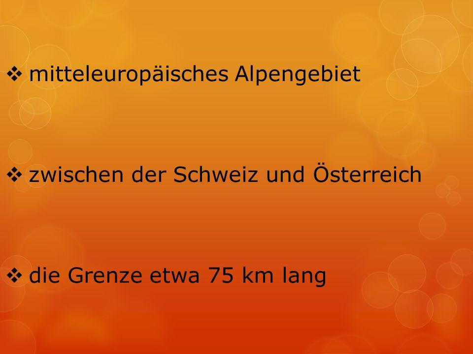  mitteleuropäisches Alpengebiet  zwischen der Schweiz und Österreich  die Grenze etwa 75 km lang