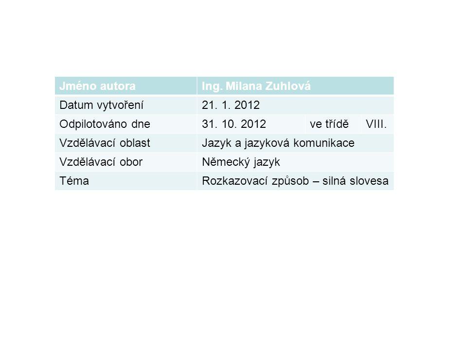 Jméno autoraIng. Milana Zuhlová Datum vytvoření21.