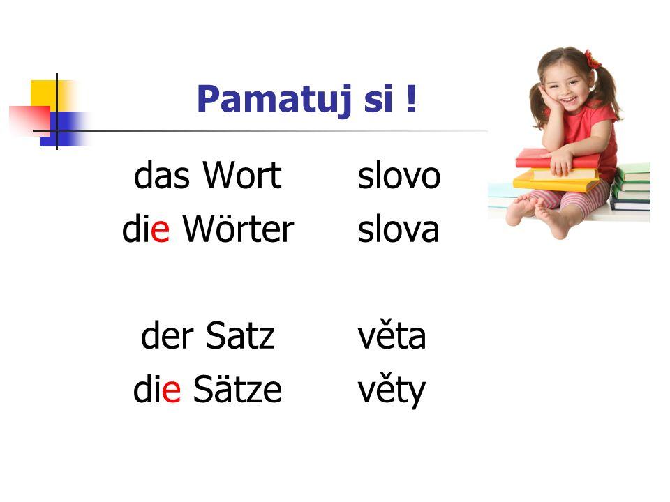 Pamatuj si ! das Wort die Wörter der Satz die Sätze slovo slova věta věty