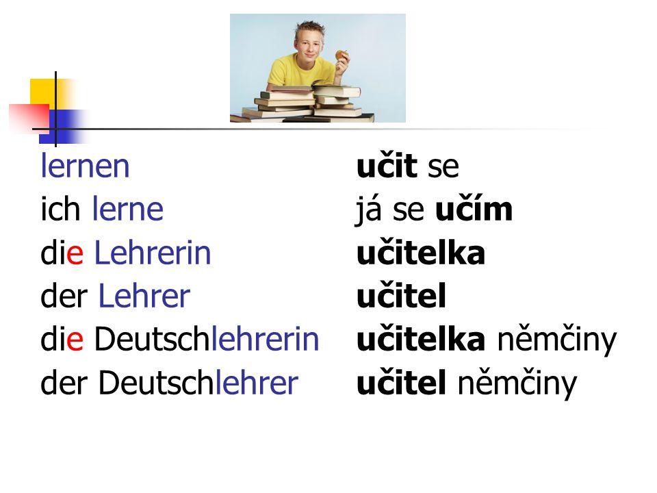 lernen ich lerne die Lehrerin der Lehrer die Deutschlehrerin der Deutschlehrer učit se já se učím učitelka učitel učitelka němčiny učitel němčiny