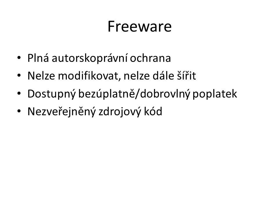 Freeware Plná autorskoprávní ochrana Nelze modifikovat, nelze dále šířit Dostupný bezúplatně/dobrovlný poplatek Nezveřejněný zdrojový kód