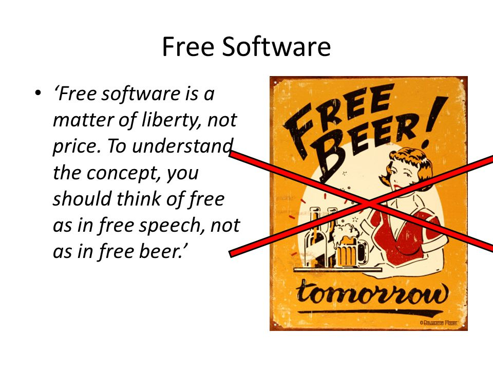 Free Software 'Free software is a matter of liberty, not price. To understand the concept, you should think of free as in free speech, not as in free