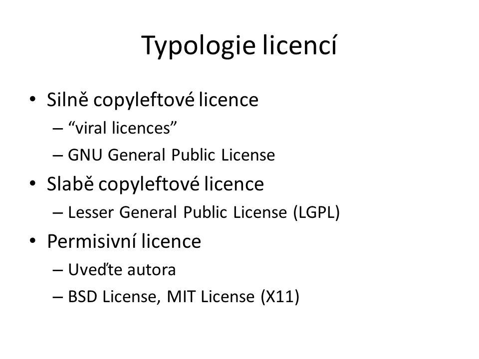 Typologie licencí Silně copyleftové licence – viral licences – GNU General Public License Slabě copyleftové licence – Lesser General Public License (LGPL) Permisivní licence – Uveďte autora – BSD License, MIT License (X11)