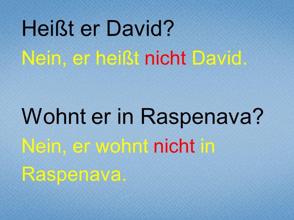 Heißt er David. Nein, er heißt nicht David. Wohnt er in Raspenava.