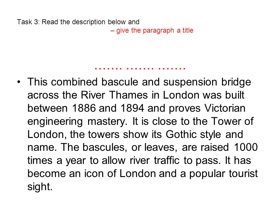 Solution to Task 3 – give the paragraph a title.