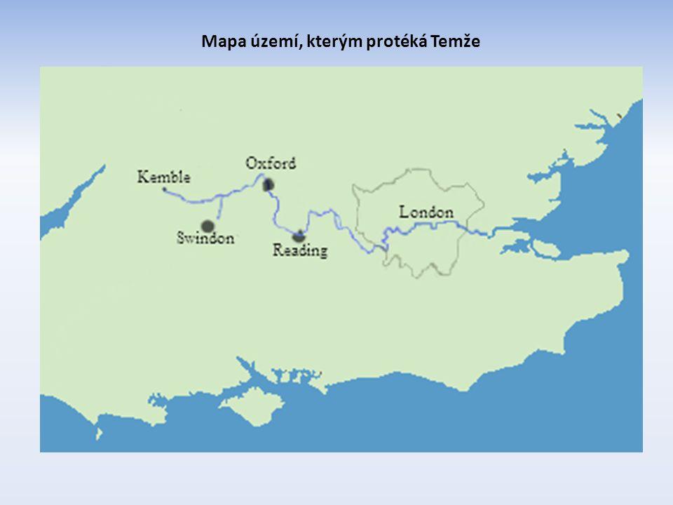 Mapa území, kterým protéká Temže