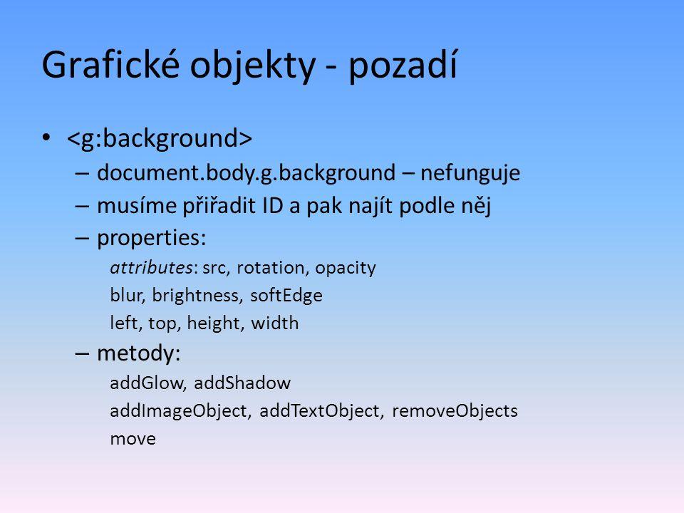 Grafické objekty - pozadí – document.body.g.background – nefunguje – musíme přiřadit ID a pak najít podle něj – properties: attributes: src, rotation, opacity blur, brightness, softEdge left, top, height, width – metody: addGlow, addShadow addImageObject, addTextObject, removeObjects move