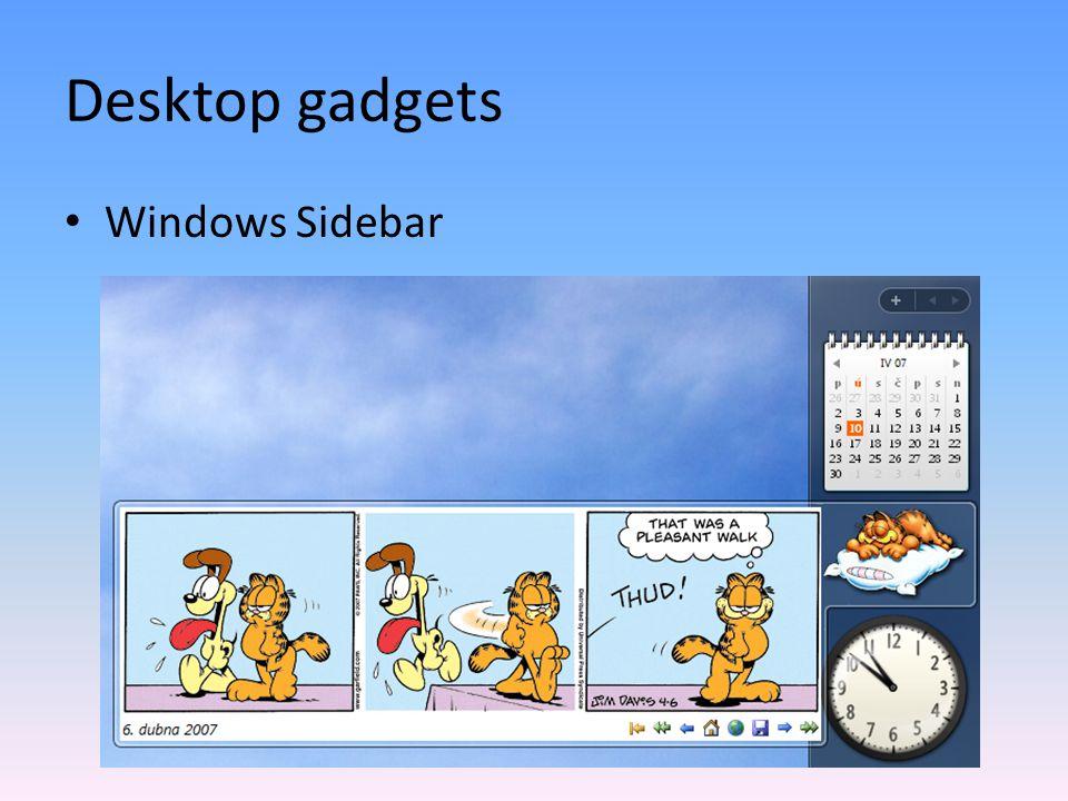 Sidebar gadget - přehled Postranní panel – Umístění vlevo/vpravo, na konkrétní monitor – Matoucí On top of other windows – Galerie gadgetů – Inteligentní umístění gadgetů