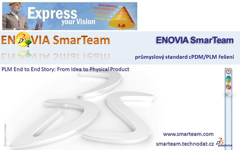postupné rozšiřování řešení v rámci TPV multi-CAD integrace s dalšími CAD systémy BOM umožňuje generovat technologický a výrobní kusovník automatizace a řízení realizačních procesů a standardizace toku informací a dat (workflow) synchronizace produktových a projektových dat (PGM) Engineering Express v technické přípravě výroby Start small ang grow as you go ENOVIA SmarTeam