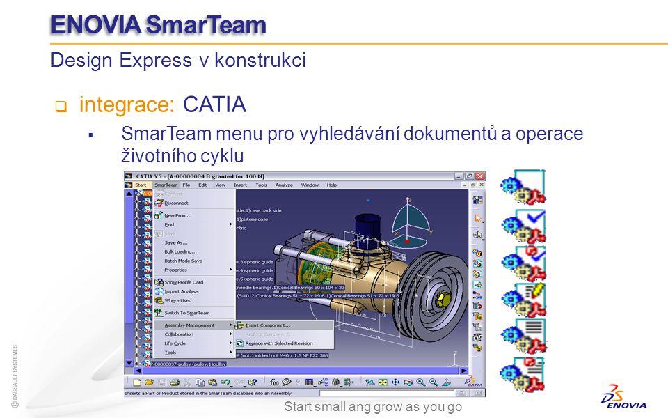 integrace: CATIA SmarTeam menu pro vyhledávání dokumentů a operace životního cyklu Design Express v konstrukci ENOVIA SmarTeam Start small ang grow as