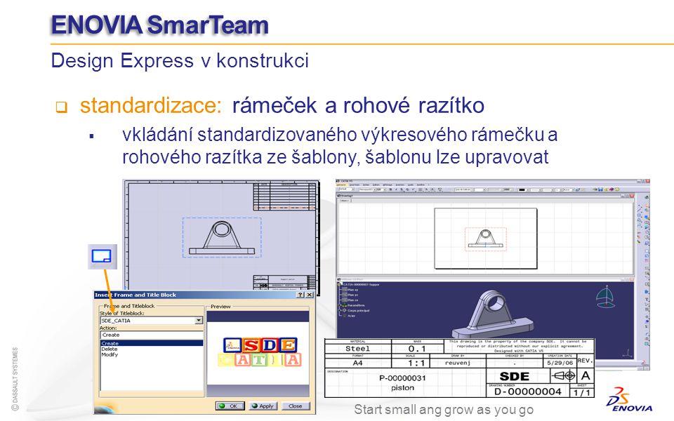 standardizace: rámeček a rohové razítko vkládání standardizovaného výkresového rámečku a rohového razítka ze šablony, šablonu lze upravovat Design Exp