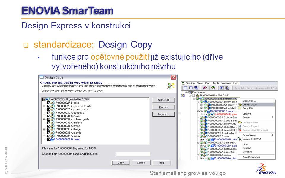 standardizace: Design Copy funkce pro opětovné použití již existujícího (dříve vytvořeného) konstrukčního návrhu Design Express v konstrukci ENOVIA Sm