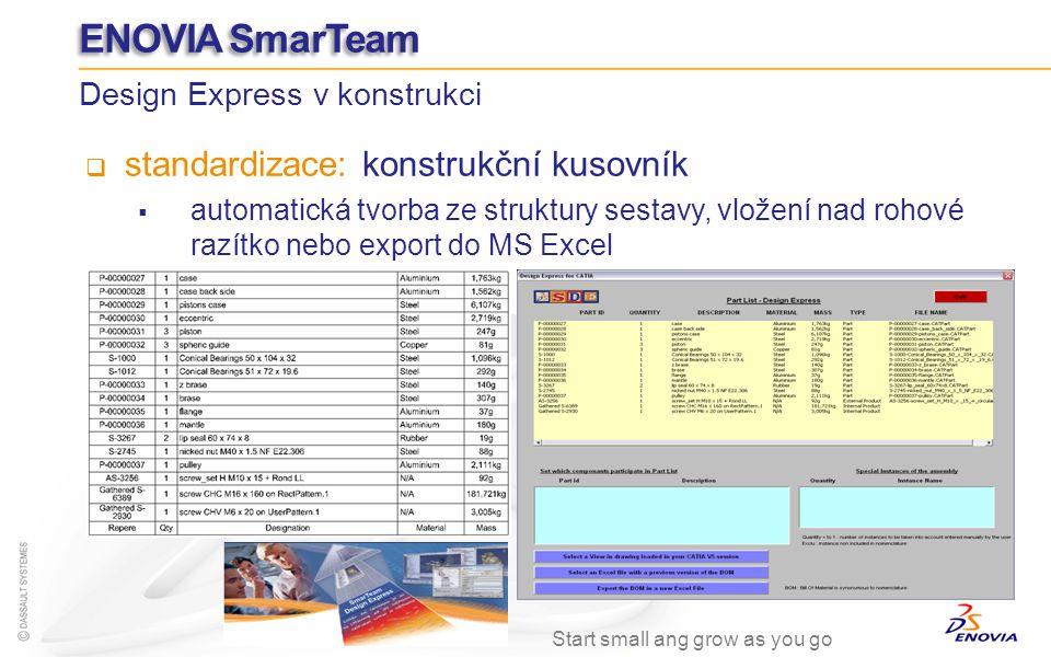 standardizace: konstrukční kusovník automatická tvorba ze struktury sestavy, vložení nad rohové razítko nebo export do MS Excel Design Express v konst